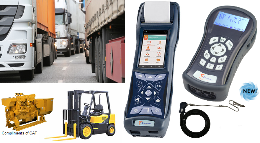 Emission monitoring in forklifts and engines, E Instruments, E 1500 and F 900