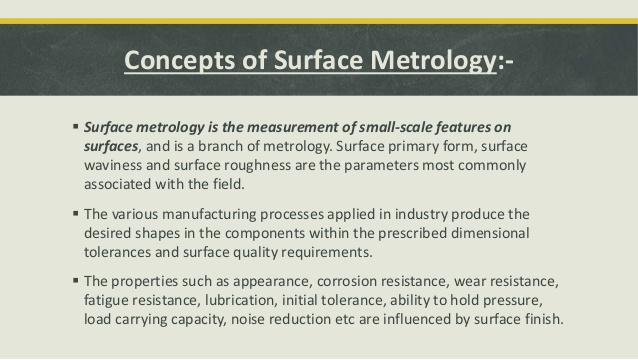 Concepts of surface metrology Darshan Panchal